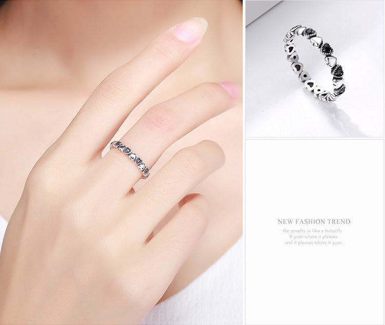 Genuine 925 Sterling Silver Stackable Heart Black CZ Ring