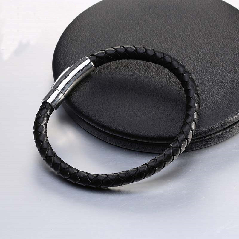 Genuine Leather Stainless Steel Men Bracelett