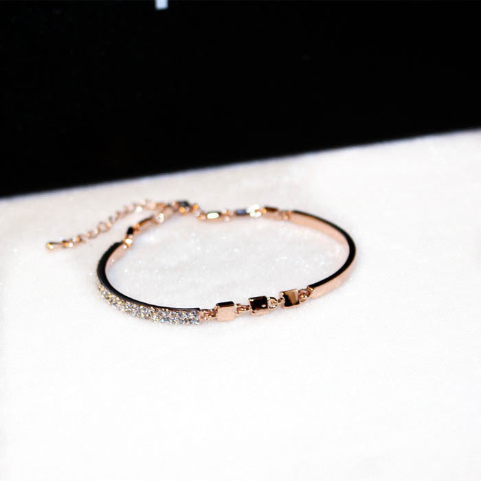 Rose Gold Color Rhinestone Cuff Bracelet