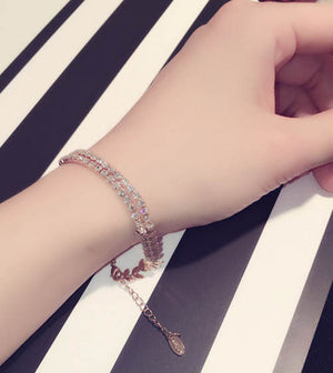 Luxury Gold & Silver Color Leaf Charm Bracelets