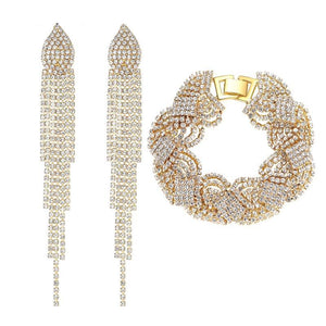 Gold Color Crystal Bracelet/Earings African Beads Jewelry Set