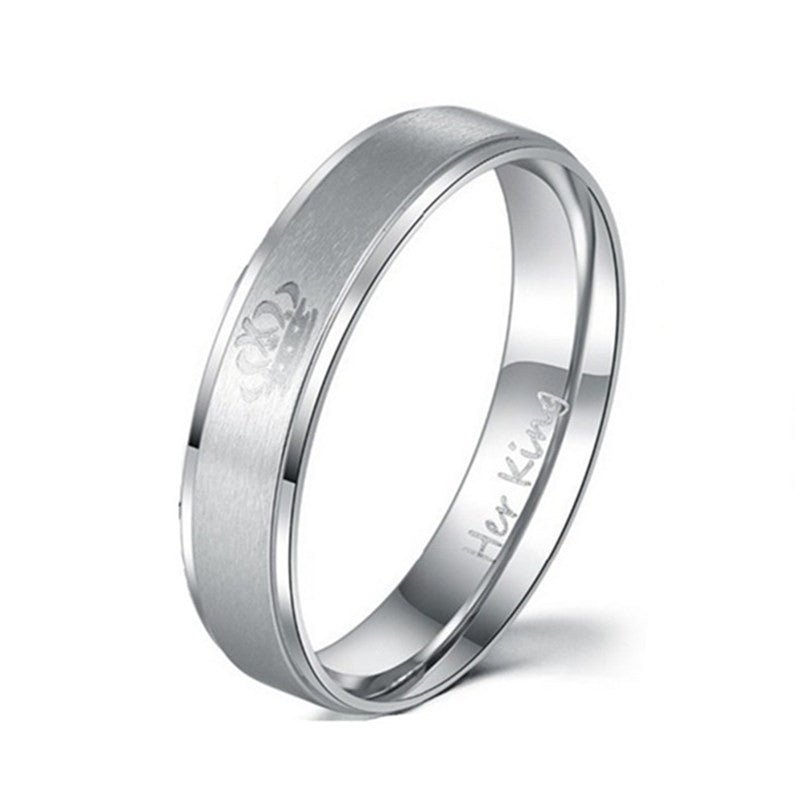 Fashion Her King and His Queen Black/Silver Stainless Steel Rings for Women/Men