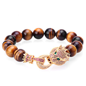 Trendy Imperial Crown Charm Natural Stone Beads Men bracelets