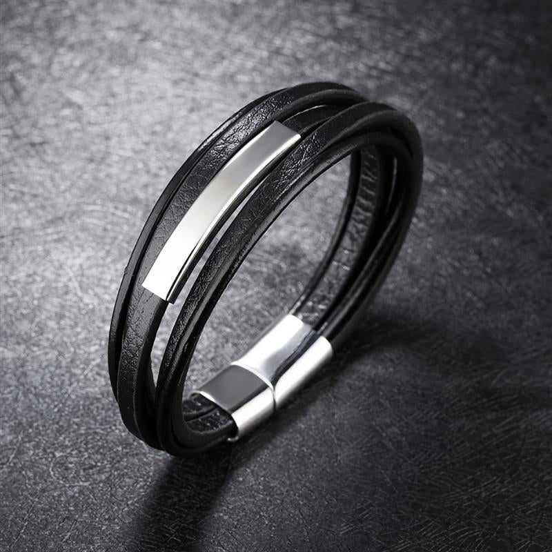 Fashion Multilayer Black/Brown Leather Stainless Steel Bracelet for Men