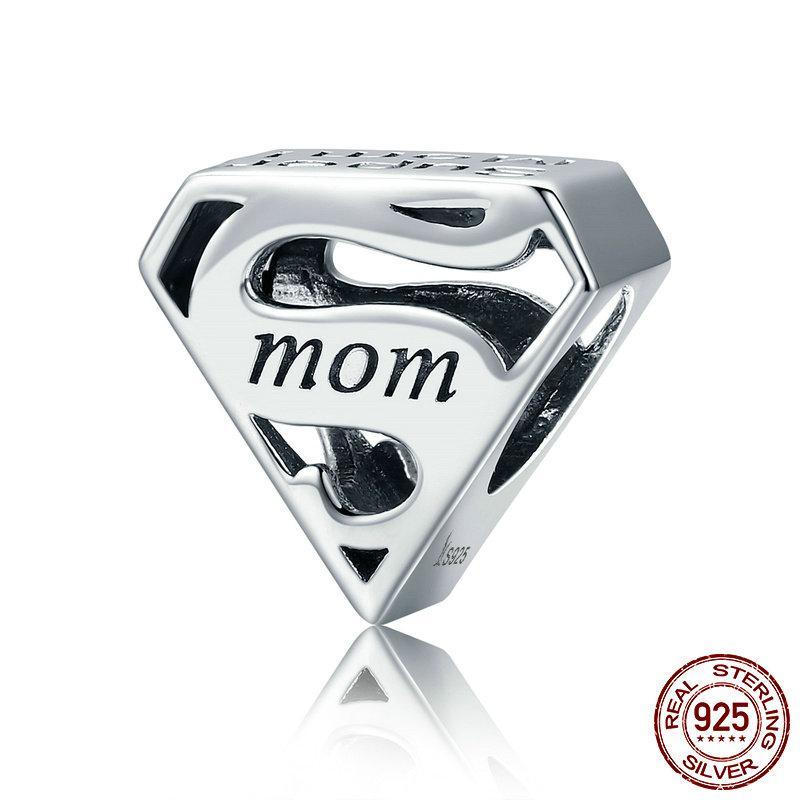 925 Sterling Silver Super Mom Mother Engrave Beads fit Charm Bracelets & Bangles