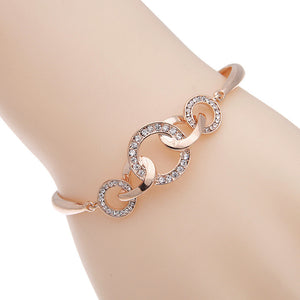 Rose Gold Color Rhinestone Circle Charm Bracelets