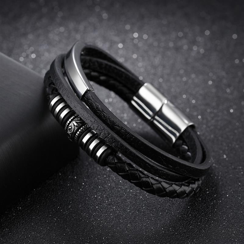 Fashion Leather Black Braid Multilayer Rope Chain Stainless Steel Magnetic Clasp Bracelet for Men