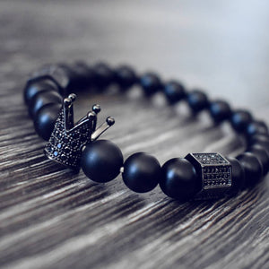 Imperial Crown & Stoppers Natural Stone Beads Bracelet