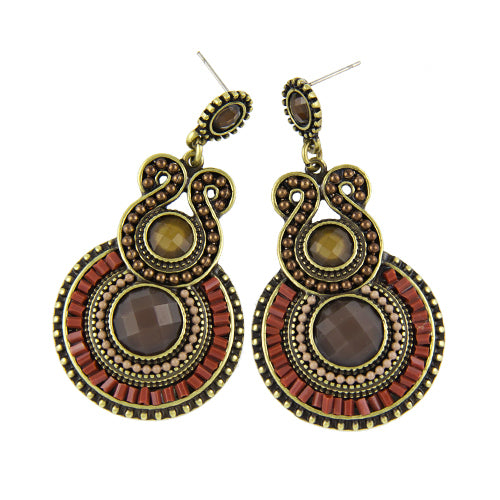 2018 New Bohemia Style Enamel Beads Statement Drop Earings
