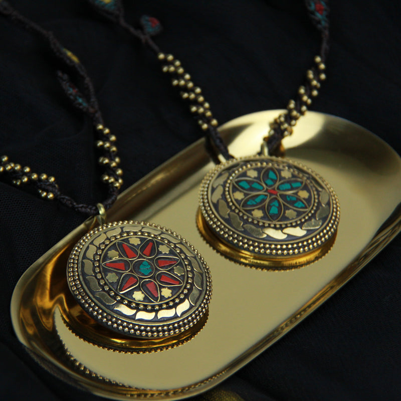 Handmade Rope Chain Copper Process Mandala Pendant Necklace