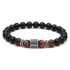 Luxury Cubic Zirconia Hexagon Brass Tiger Eye Stone Beads Bracelet