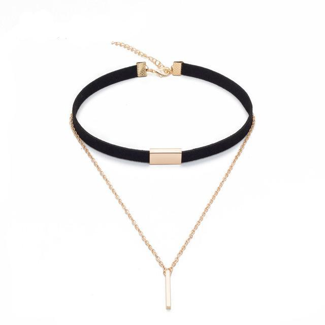 Fashion Black/Brown Statement Velvet Choker Necklace
