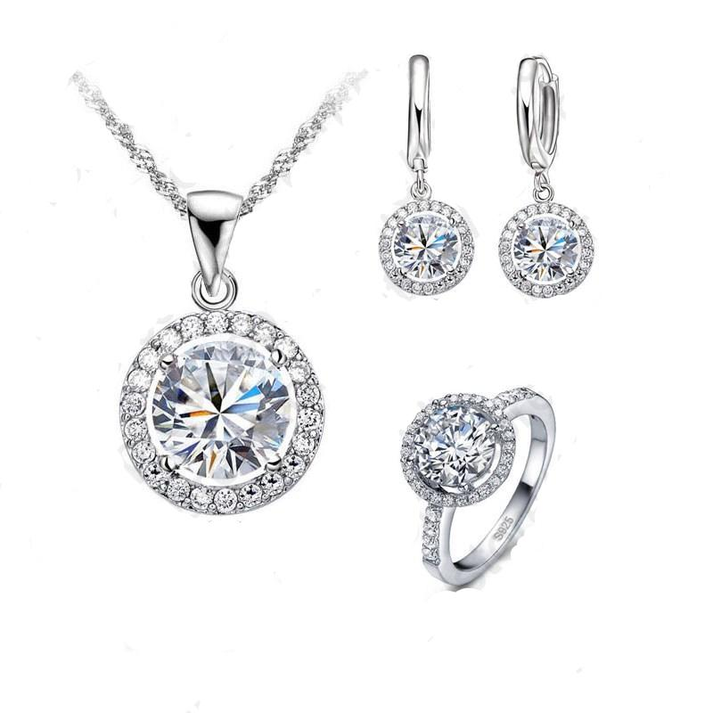 925 Sterling Silver Exquisite Women Wedding Necklace Earring Ring Jewelry Set