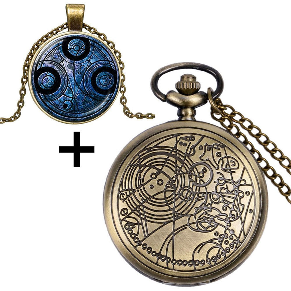 Doctor Who Antique Pocket Watch With Dr. Who Symbols Design Glass Dome Pendant
