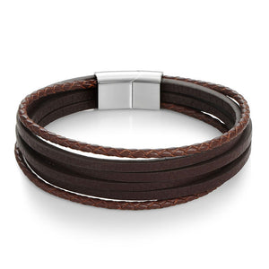 Vintage Men Bracelet Genuine Leather Stainless Steel