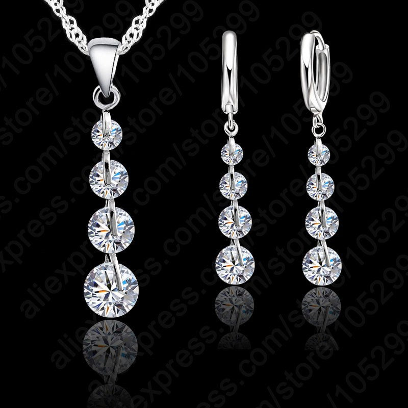 Romantic 925 Sterling Silver Link Chain Crystal  Pendant Jewelry Set  For Women