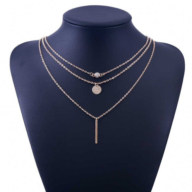 2018 Fashion Suspension 3 Layer crystal Gold Color Necklace