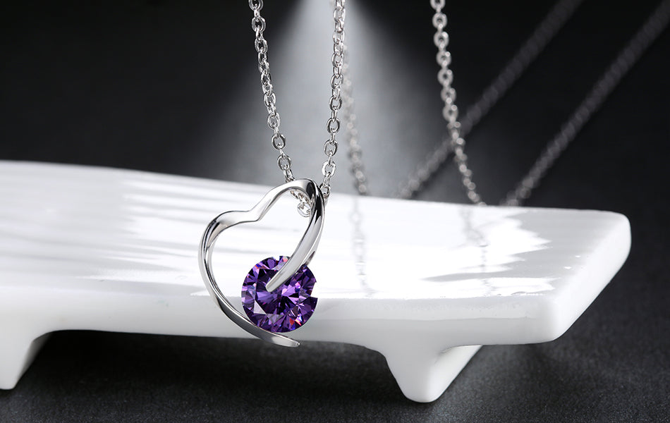 925 Sterling Silver Necklace Heart Pendant 45cm Jewelry