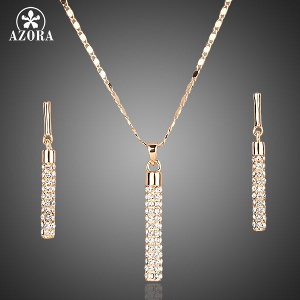 Gold Color Clear Austria Crystals Drop Earrings and Pendant Necklace Jewelry Set