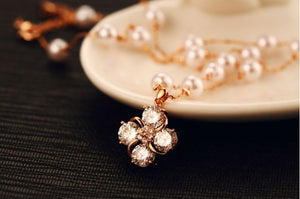 Rose Gold Color Simulated Pearl Necklace