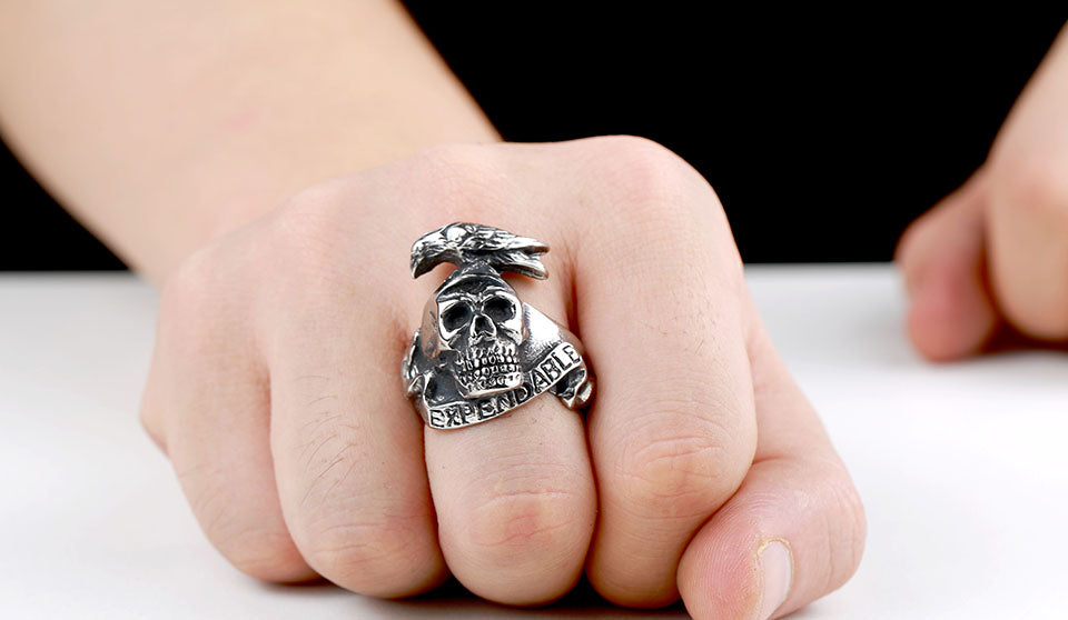 Skeleton Crow Expandables Titanium Ring