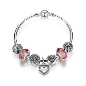 Silver Color Heart Pendant Bracelet with European Beads