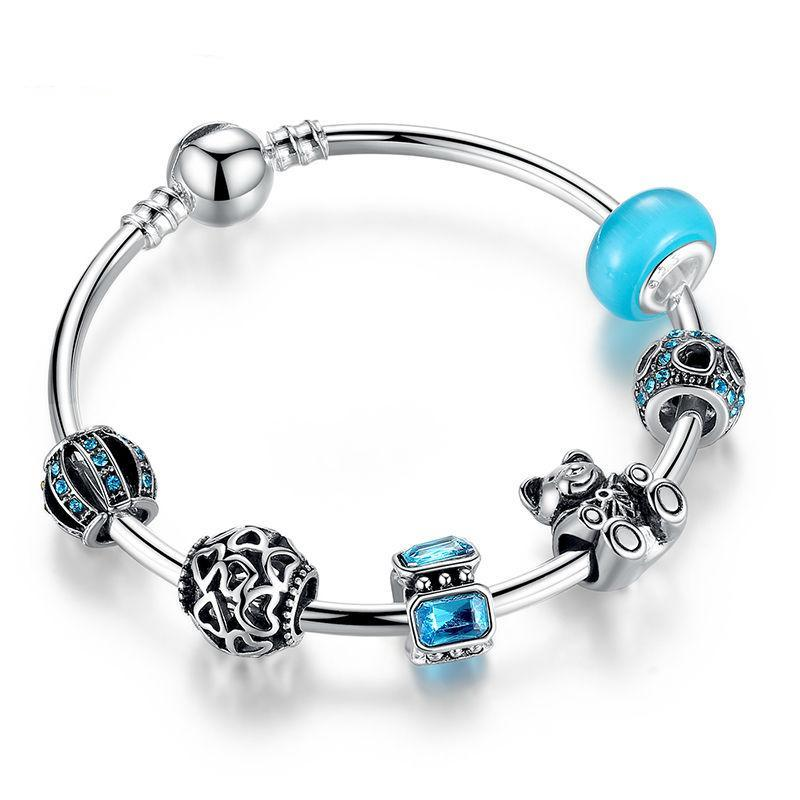 Silver Charm Bangle with Bear Animal & Open Your Heart Blue Glass Charm Bracelet
