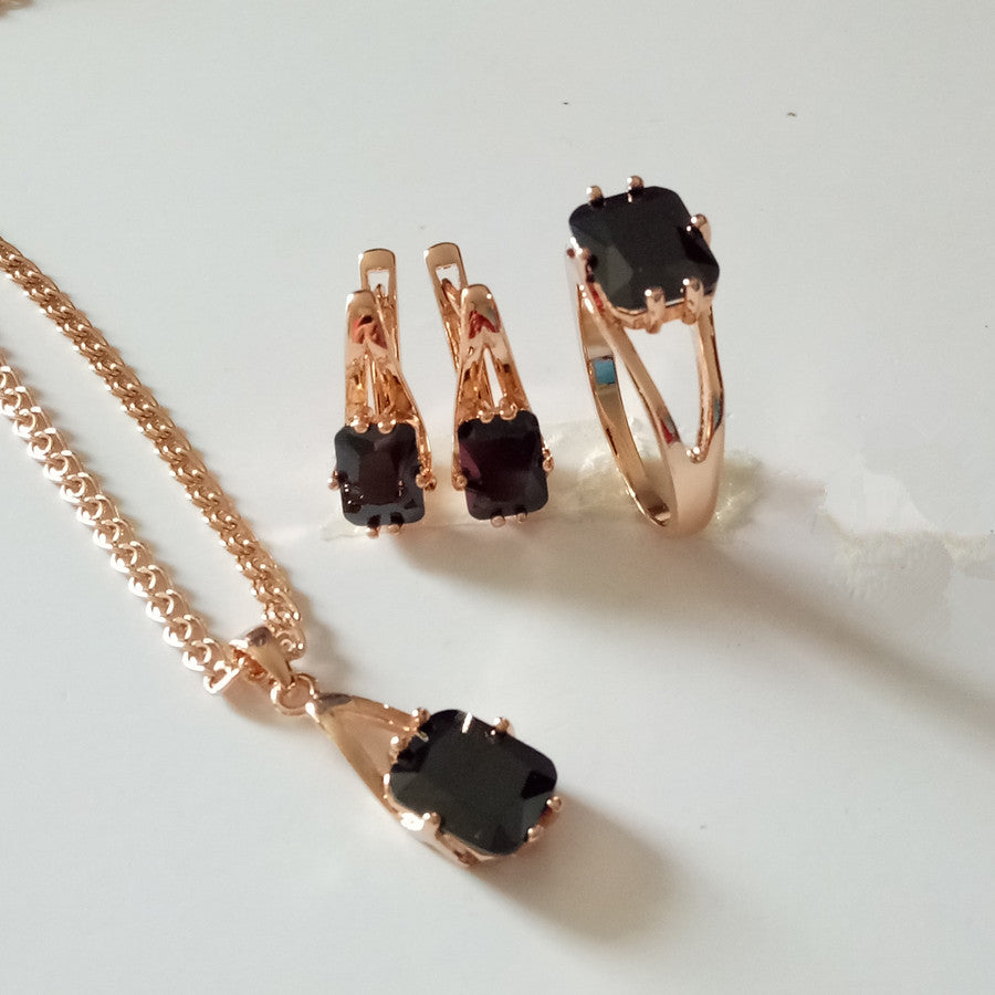 New Rose Gold Color Black Square Cubic Zircon Jewelry Set Earring+Ring+Necklace