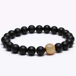 Imperial Crown Charm Natural Stone Beads Bracelet