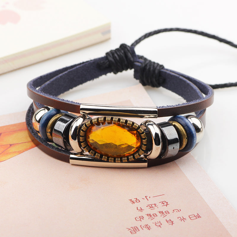 Vintage Multilayer PU Yellow Crystal  Braided Leather Bracelet