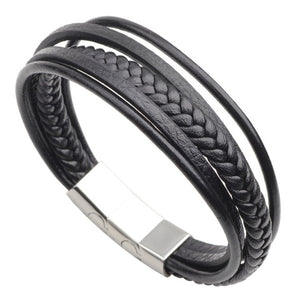 Genuine Leather Stainless Steel Bangles Braided Rope Bracelet