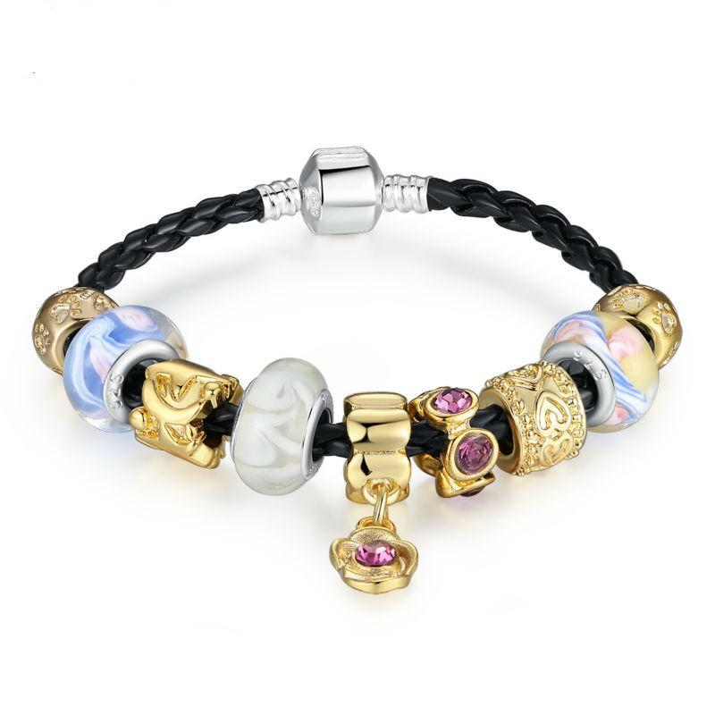 Silver Color Leather With Murano Glass Beads Charm Bracelets & Bangles