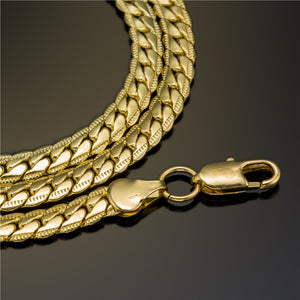 5mm Wide Gold-Color Long Chain Unisex Necklace