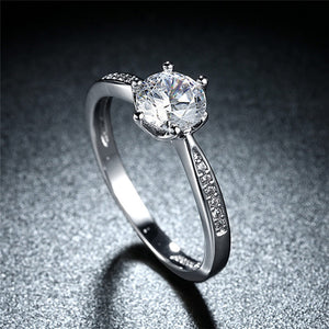 Classic Design 6 Prong Sparkling Solitaire 1ct Cubic Zirconia Ring