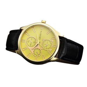 Retro Design PU Leather Band Three Eyes Analog Alloy Quartz Wrist Watch