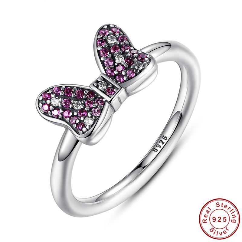 100% 925 Sterling Silver Minnie's Sparkling Bow Ring with Purple and Clear CZ