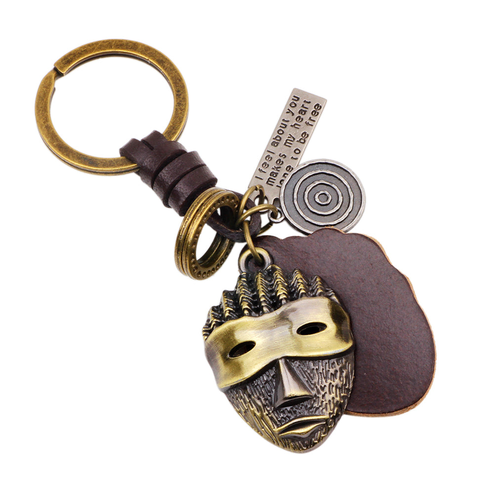 Mask Genuine Leather Cut out keychain Bag Pendant