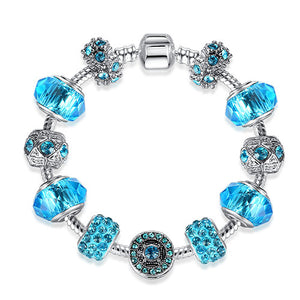 925 Silver Crystal Four Leaf Clover Charm Bracelet with Clear Murano Glass Beads