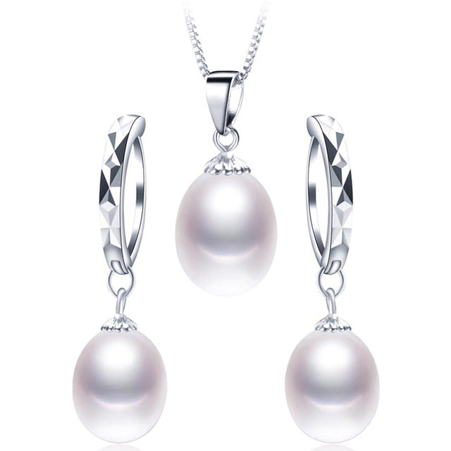 2018 Hot Selling 925 Sterling Silver Jewelry Set 100% Real Natural Freshwater Pearl