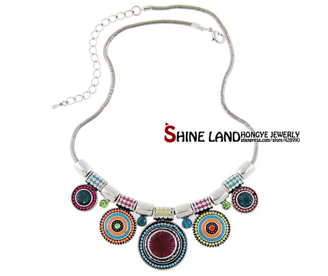 New Fashion Ethnic Vintage Silver Color Colorful Bead Pendant  Choker Necklace