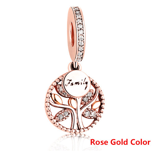 Luxury 925 Sterling Silver Tree of Life with Cubic Zirconia Bead Charms