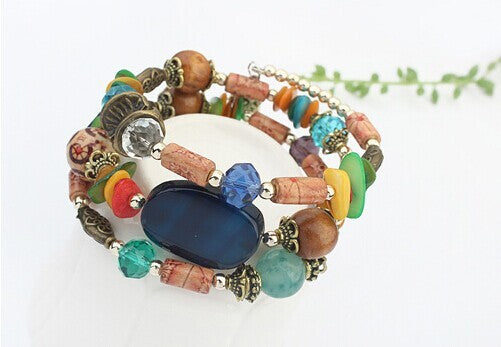 2018 New Hot Bohemian Shell Wood Crystal Natural Stone Charm Bracelet