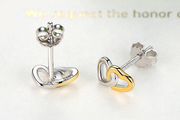 925 Sterling Silver 2018 New Arrival Heart to Heart Small Stud Earrings