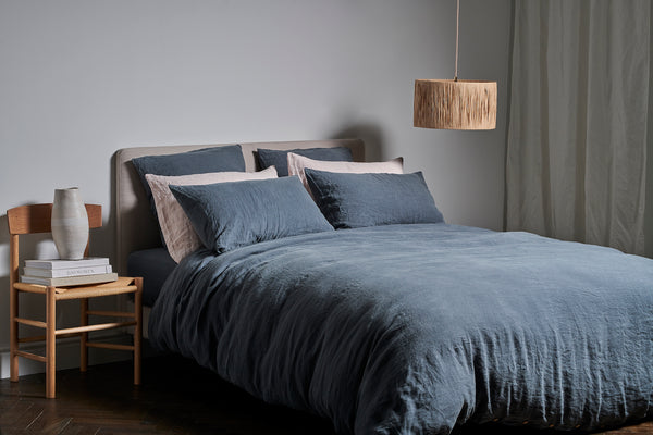 Linen Bed Sheets in Blue