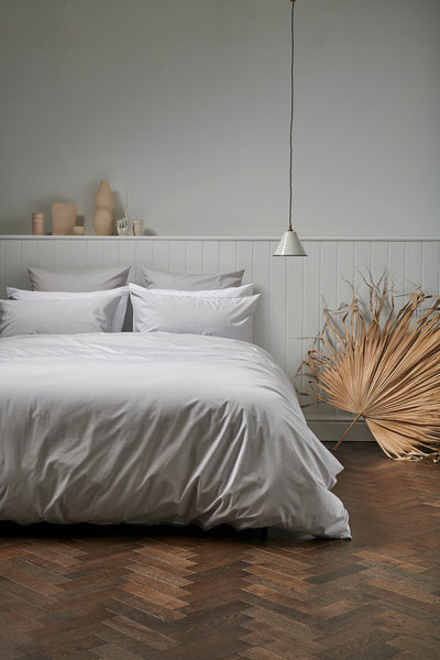 Percale Cotton Bedding in Grey