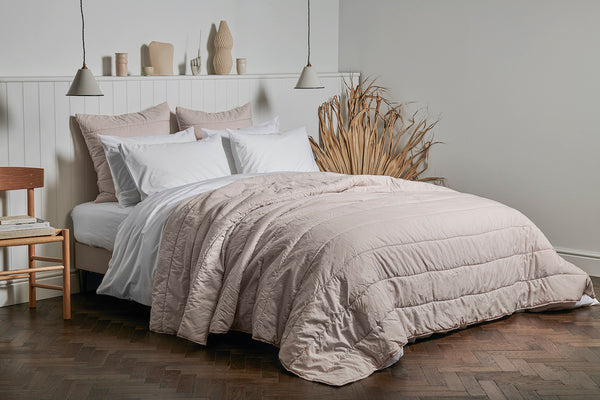 Classic Percale Cotton & Cotton Quilt in Rose
