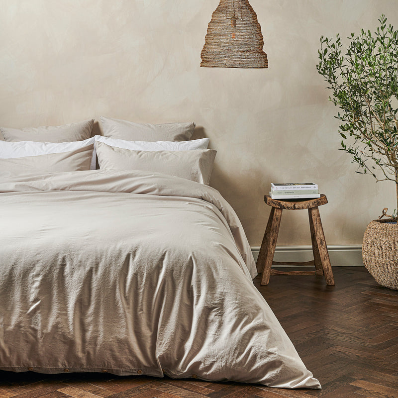 Relaxed Cotton Duvet Cover   Clay   King
