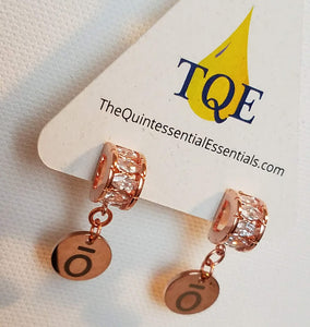 Rose Gold ō Charm Earrings