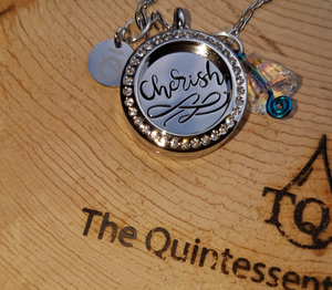 "Cherish Locket - 24"" stainless steel chain with Swarovski crystal and ō charm"