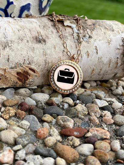 Briefcase rose gold locket